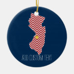 New Jersey State Map with Custom City and Name Double-Sided Ceramic Round Christmas Ornament