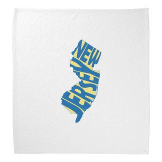 New Jersey State Name Word Art Blue Bandana