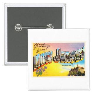 New Jersey State NJ Old Vintage Travel Postcard- Button