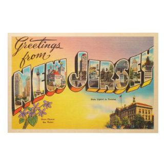 New Jersey State NJ Old Vintage Travel Postcard- Wood Wall Art
