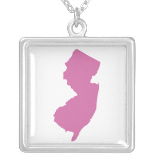 New Jersey State Outline Silver Plated Necklace