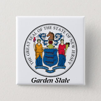 New Jersey State Seal and Motto Button