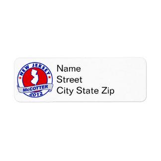 New Jersey Thad McCotter Return Address Labels