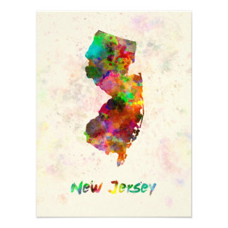 New Jersey US state in watercolor Cojinete