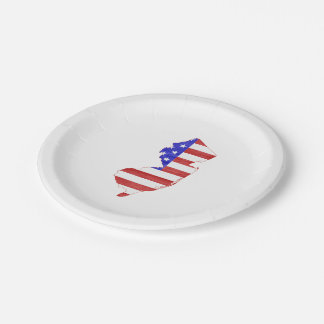 New Jersey USA flag silhouette state map 7 Inch Paper Plate