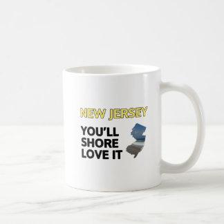 New Jersey: Usted apuntalará amor él Taza Básica Blanca