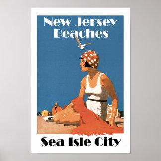 New Jersey vara la ciudad de la isla del ~Sea Póster