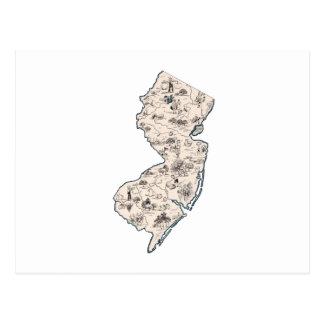 New Jersey Vintage Picture Map Postcard