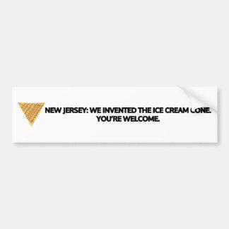 New Jersey: We invented the ice cream cone. Car Bumper Sticker