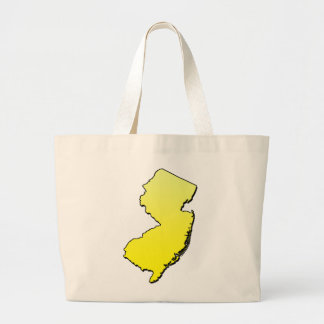 New Jersey Yellow Outline Large Tote Bag