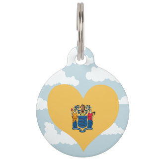 New Jerseyan Flag on a cloudy background Pet Tags