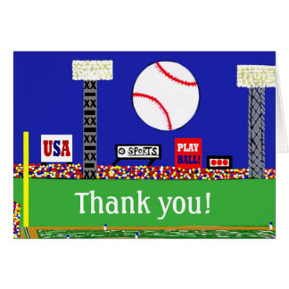 New Kids Baseball Sports Thank You Note Card