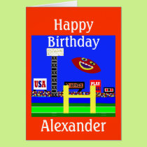 New Kids Football Personalized Birthday Card