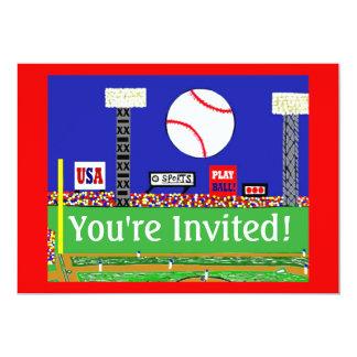 "New Kids Sport Baseball Birthday Party Invitation 5"" X 7"" Invitation Card"