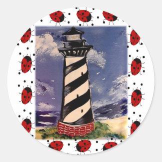 New Ladybug Lighthouse Classic Round Sticker