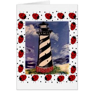 New Ladybug Lighthouse Greeting Card