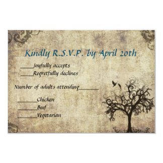 New Life Vintage with Blue Wedding RSVP Card Custom Invites