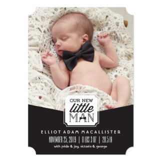 New Little Man Bow Tie Photo Birth Announcement
