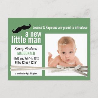 New Little Man Green Photo Birth Announcement
