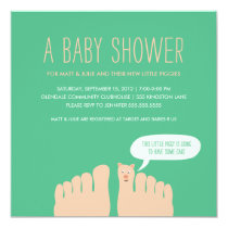 New Little Piggies Baby Shower Invitation