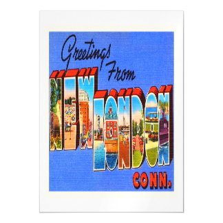New London Connecticut CT Vintage Travel Souvenir Magnetic Card