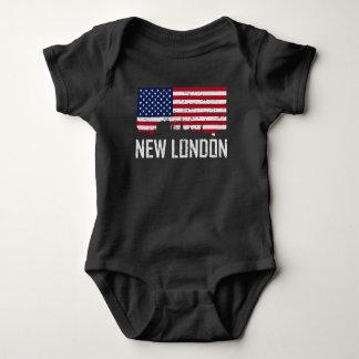 New London Connecticut Skyline American Flag Distr Baby Bodysuit