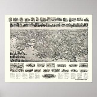New London, CT Panoramic Map - 1911 Poster