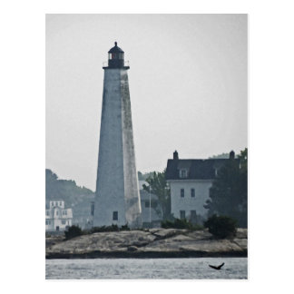 New London Harbor Light River View Post Cards
