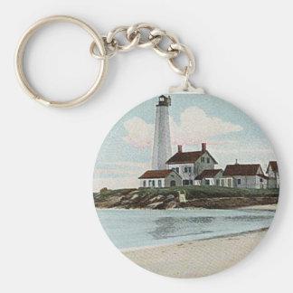 New London Harbor Lighthouse Basic Round Button Keychain