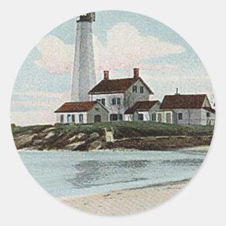 New London Harbor Lighthouse Classic Round Sticker