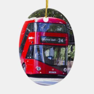 New London Red Bus Ceramic Ornament