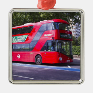 New London Red Bus Metal Ornament