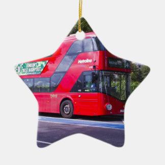 New London Red Bus Ceramic Star Decoration