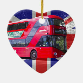 New London Red Bus Ceramic Heart Decoration