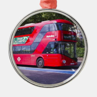 New London Red Bus Silver-Colored Round Decoration
