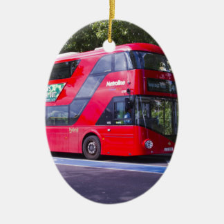 New London Red Bus Ceramic Oval Decoration