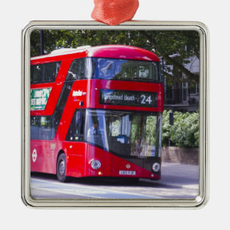 New London Red Bus Silver-Colored Square Decoration
