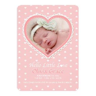 New Love Pink Photo Birth Announcement
