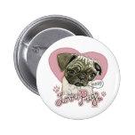New Love Pug by Mudge Studios 2 Inch Round Button