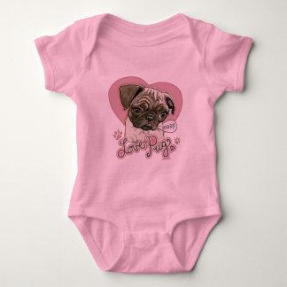 New Love Pug by Mudge Studios Baby Bodysuit