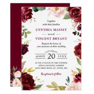 New! Lovely Burgundy Blush Floral Modern Wedding Invitation