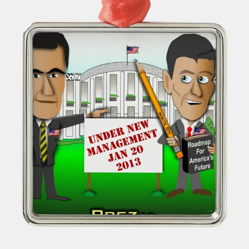 New Management Square Metal Christmas Ornament