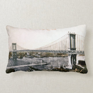 New Manhattan Bridge Vintage New York City Lumbar Pillow