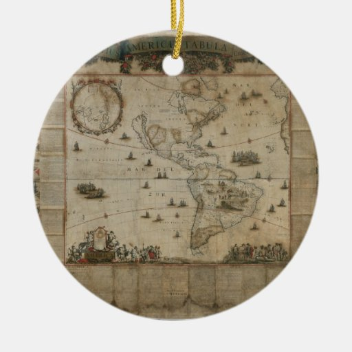 New map of all America, corrected by F. de Wit Double-Sided Ceramic Round Christmas Ornament