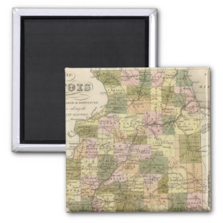 New Map Of Illinois 2 2 Inch Square Magnet