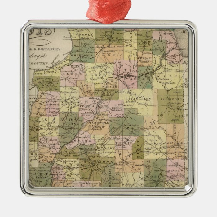 New Map Of Illinois 2 Metal Ornament