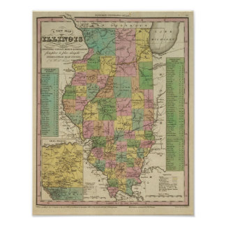 New Map Of Illinois Poster