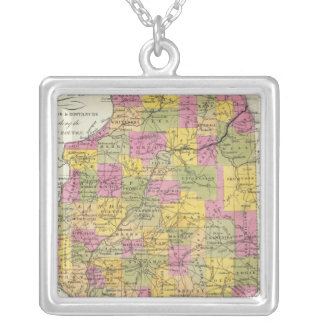 New Map Of Illinois Square Pendant Necklace