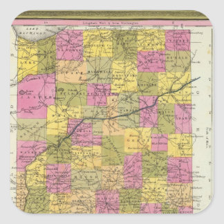 New Map Of Indiana 2 Square Sticker