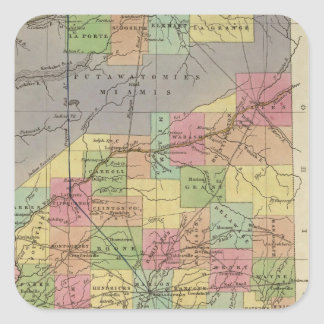 New Map Of Indiana Square Sticker
